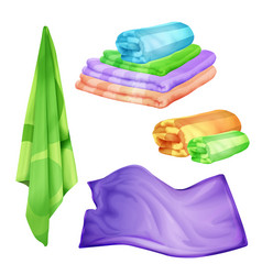 Realistic bathroom spa colored towel set vector