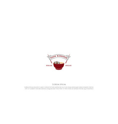 Red bowl chopstick with meatball and noodle asian vector