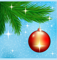 red christmas ball on spruce branches vector image