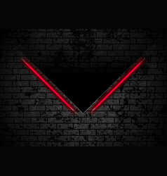 red neon stripes on grunge brick wall background vector image
