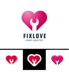 Repair or fix love heart logo design element vector