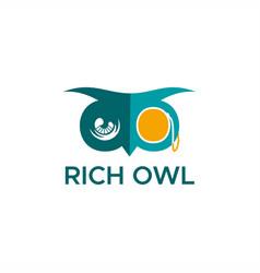 rich owl logo vector image
