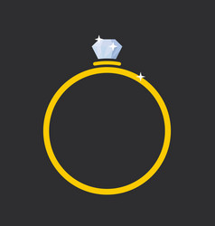 ring with a diamond flat style vector image
