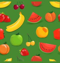 seamless pattern with colorful fruits apple vector image