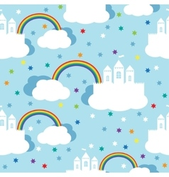 Seamless pattern with raindow castle and clouds vector image