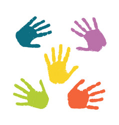 Set colorful hand prints isolated on white vector