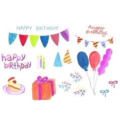 Set of birthday party stuff watercolor gift box vector