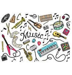 Set of musical symbols and icons guitar drums vector