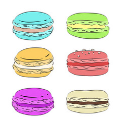 Set of various drawing multicolored macaroons vector