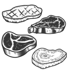 Set raw meat and grilled meat isolated on vector