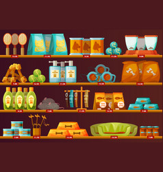showcase with animal toys for dogs and cats vector image