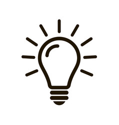 Simple light bulb line icon isolated on background vector