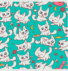 Small white cats seamless pattern different vector