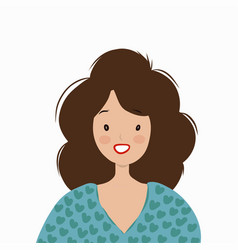 smiling woman in a blue sweater vector image