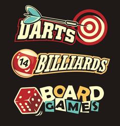Social leisure games logos and design elements vector