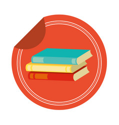 stack books sticker vector image