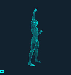 Standing man human with arm up silhouette for vector