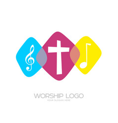 The cross of jesus and musical notes vector