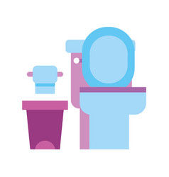 toilet bowl trash can and paper equipment bath vector image