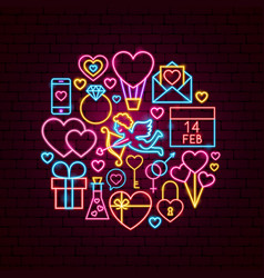 valentine day neon concept vector image