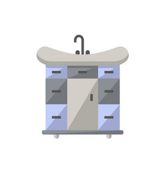 Wash basin with drawers icon in flat style vector