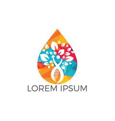 water drop and human dna molecules logo design vector image