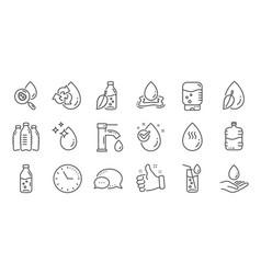 Water drop line icons bottle antibacterial vector
