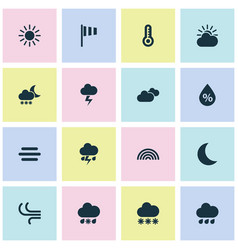 Weather icons set collection of moisture snowy vector