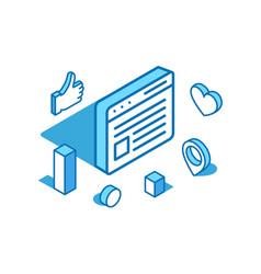 web page isometric line social vector image