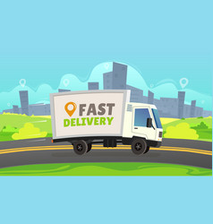 White delivery car ride road on cityscape vector