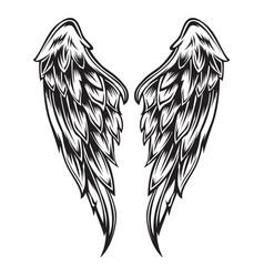 Wings bird black white 333 vector