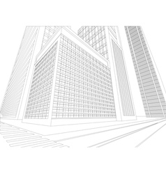 Wireframe urban city on a white background vector
