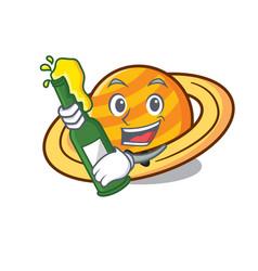 With beer planet saturnus mascot cartoon vector