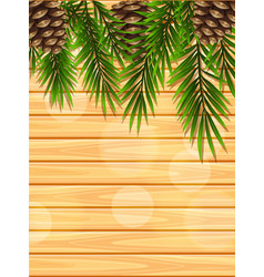Wooden board with pinecones and leaves vector