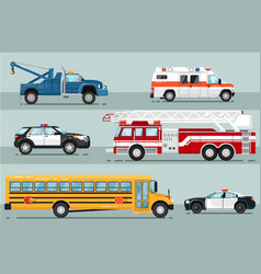 City emergency transport isolated set vector