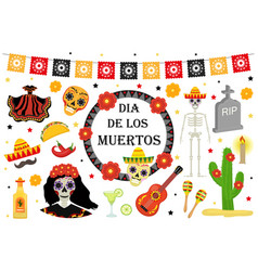 day of the dead mexican holiday icons flat style vector image