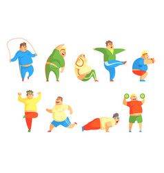 funny chubby man character doing gym workout set vector image
