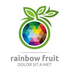 rainbow fruit logo food nutrition symbol vector image vector image