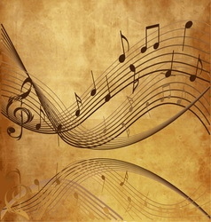 Vintage background with Music notes vector image vector image