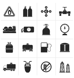 Black Natural gas objects and icons vector image vector image