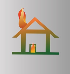 Burning house symbol vector image vector image