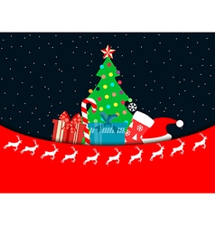 Christmas tree with gifts in a flat style vector image vector image