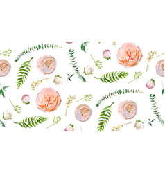 floral summer seamless pattern pink garden rose vector image vector image