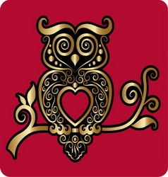Golden owl ornament vector image
