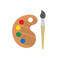 paint brush with palette vector image