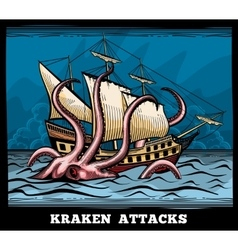 Sailing vessel and Kraken monster octopus vector image vector image