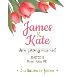 watercolor wedding invitation card with vector image vector image