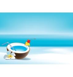 Coconut coctail on beach vector image