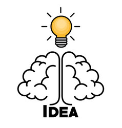 light bulb and brain design vector image