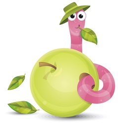 Little worm and apple vector image